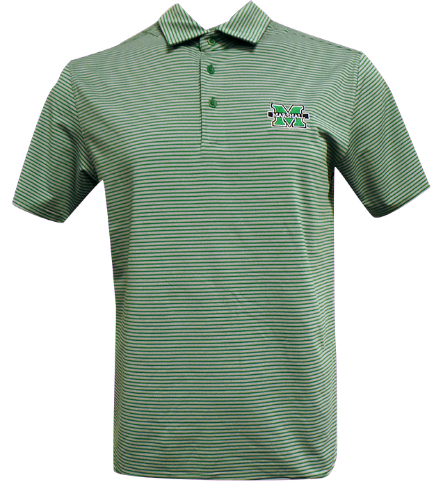 15925 <br>MU UA Green Striped Polo <br>$70.00